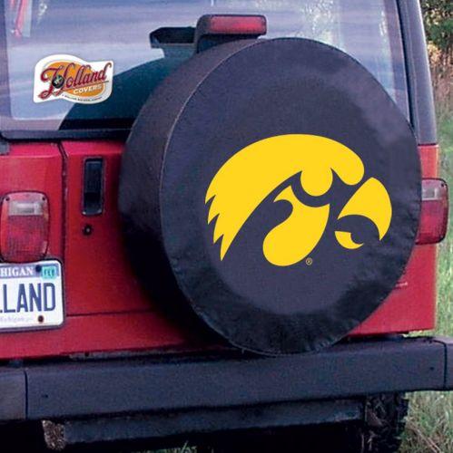Iowa Tire Cover With Hawkeyes Logo On Black Vinyl